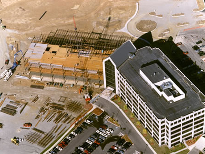 Deerfield Crossing commercial office building construction overhead view