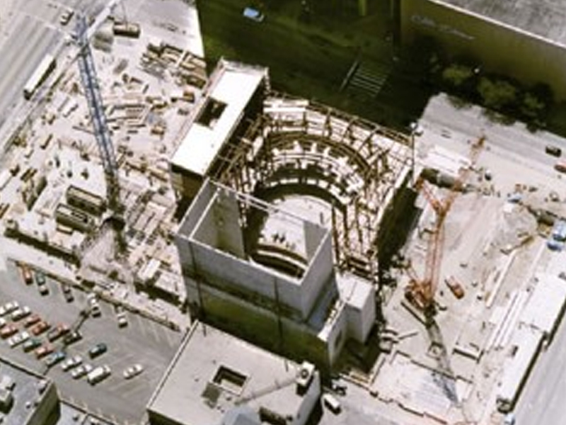 Schuster Performing Arts Center under construction aerial view